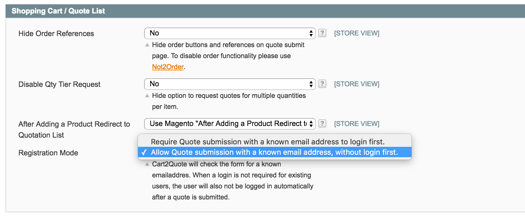 Quote List Request Quote Without User Account  Cart2Quote Support